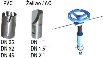 EFEKT Aparat do nawiercania, mały zestaw, do wodociągów pod ciśnieniem, PE, PCV, ŻL, AC, duży zestaw do nawiercania wodociągów, pod ciśnieniem przez NWZ, Frez do nawiercania do rur stalowych, do nawiercania rurociągów ze stali, żeliwa, azbestocemetu lub tworzywa sztucznego, przez armaturę do przyłączy domowych , Nawiercanie może odbywać się pod pełnym ciśnieniem, Przy nawiercaniu pod ciśnieniem wióry są wypłukiwane na zewnątrz, frez do nawiercania, wiertło do rur żeliwnych, przyrząd do nawiercania z grzechotką, fabryka armatury, wiertnica, nawiercania rur pod ciśnieniem, nowe przyłącze pod ciśnieniem, aparat do nawiercania, aparat do nawiertki nwz